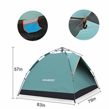 MIABOO Popup Zelt,Wurfzelt 3-4 Personen Wasserdichtes Pop up Zelt Ultraleicht mit Tragetasche für Camping - 4