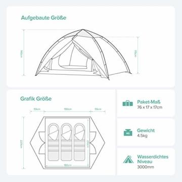 Sable Pop Up Zelt Wurfzelt Kuppelzelt 3 Personen Wasserdicht Zelt Outdoor Camping 210 x 190x 120 cm - 2
