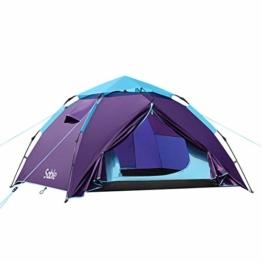 Sable Pop Up Zelt Wurfzelt Kuppelzelt 3 Personen Wasserdicht Zelt Outdoor Camping 210 x 190x 120 cm - 1