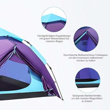 Sable Pop Up Zelt Wurfzelt Kuppelzelt 3 Personen Wasserdicht Zelt Outdoor Camping 210 x 190x 120 cm - 4