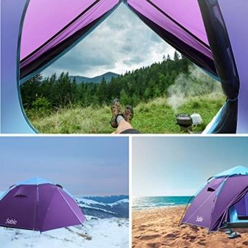 Sable Pop Up Zelt Wurfzelt Kuppelzelt 3 Personen Wasserdicht Zelt Outdoor Camping 210 x 190x 120 cm - 7