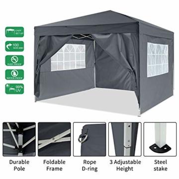 YUEBO Pavillon 3x3, Wasserdicht Faltbare Festival Sonnenschutz Faltpavillon mit 4 Seitenteilen und Tragetasche - 2