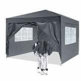 YUEBO Pavillon 3x3, Wasserdicht Faltbare Festival Sonnenschutz Faltpavillon mit 4 Seitenteilen und Tragetasche - 1