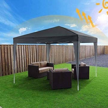 YUEBO Pavillon 3x3, Wasserdicht Faltbare Festival Sonnenschutz Faltpavillon mit 4 Seitenteilen und Tragetasche - 3