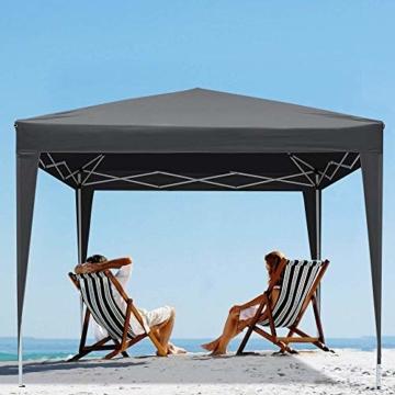 YUEBO Pavillon 3x3, Wasserdicht Faltbare Festival Sonnenschutz Faltpavillon mit 4 Seitenteilen und Tragetasche - 4